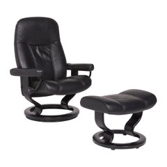 Stressless Consul Leather Armchair Black Incl. Stool Size M Relax Function