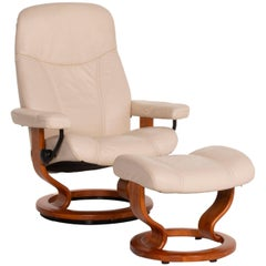 Stressless Consul Leather Armchair Cream Incl. Ottoman Relaxation Function