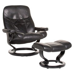 Stressless Consul Leather Armchair Incl. Black Stool Size L Function Relax