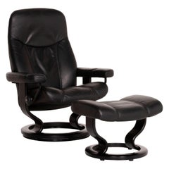 Stressless Consul Leather Armchair Incl. Stool Black Function Relaxation