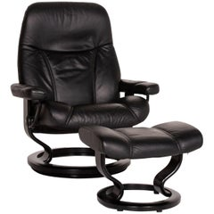Stressless Consul Leather Armchair Incl. Stool Black Relaxation Function