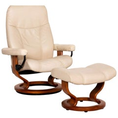 Stressless Consul Leather Armchair Incl. Stool Cream Function Relax Function