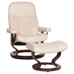 Stressless Consul Leather Armchair Incl. Stool Cream Relax Function Function