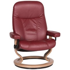 Stressless Consul Leather Armchair Red Relax Function Function Size M