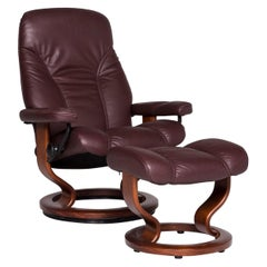 Stressless Consul Leather Armchair Stool Red-Brown Relax Function
