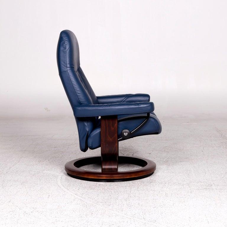 Stressless Consul Leder Sessel Inkl Hocker Blau Relaxfunktion Funktion For Sale at 1stdibs