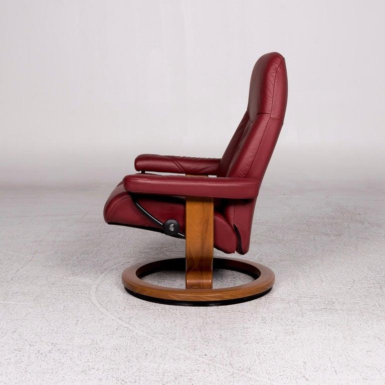 Stressless Consul Leder Sessel Inkl Hocker Rot Relaxfunktion For Sale at 1stdibs