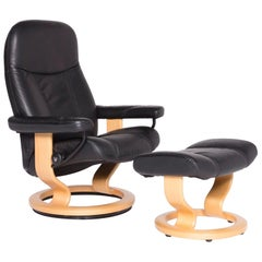Stressless Consul M Designer Leather Armchair with Stool Black Genuine Leather