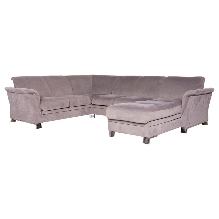 Stressless Designer Fabric Corner Sofa Gray Sofa Couch