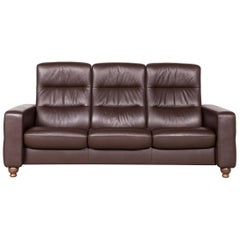 Stressless Designer Leather Sofa Brown Genuine Leather Three-Seat Couch