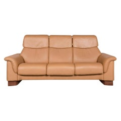 Stressless Designer Leather Sofa Brown Genuine Leather Three-Seat Couch Relax