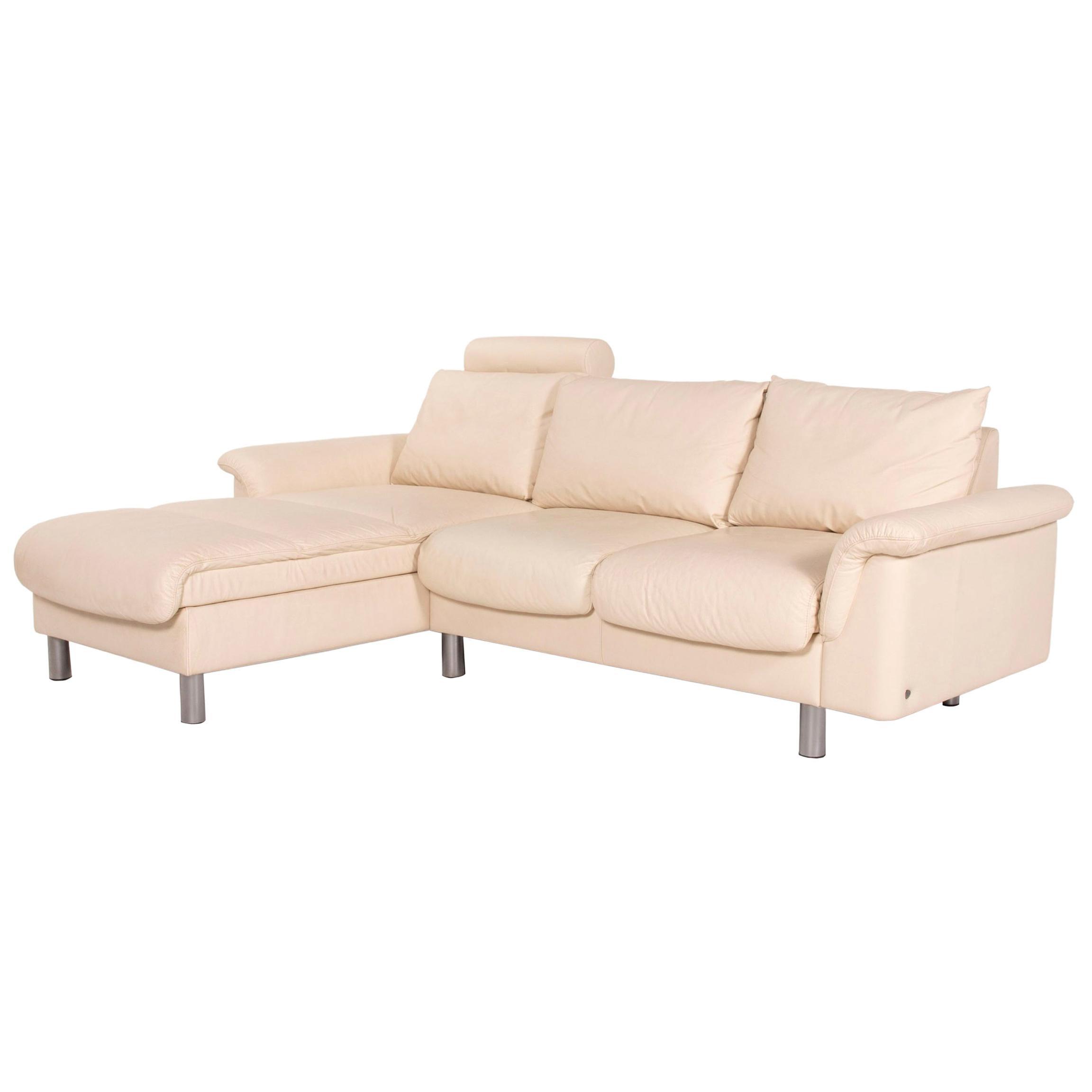 Stressless E300 Leather Corner Sofa Cream Sofa Function Couch