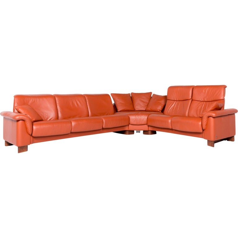 Stressless Eldorado Designer Leather Corner Sofa Orange Terracotta Real  Leather