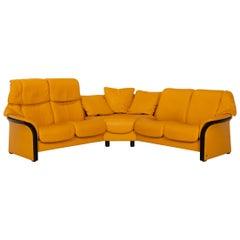 Stressless Eldorado Leather Corner Sofa Yellow Relax Function Sofa Couch