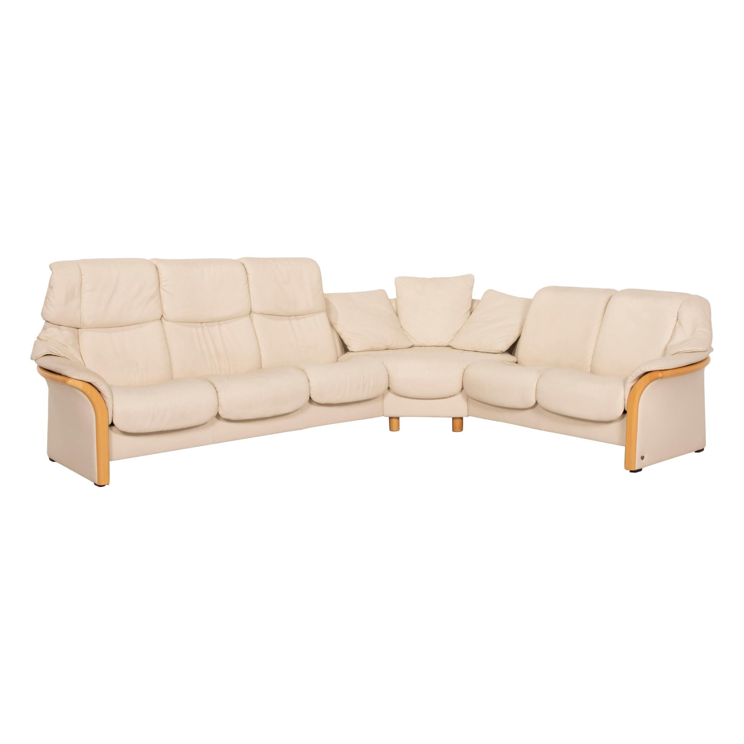 Stressless Eldorado Leather Cream Corner Sofa