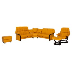 Stressless Eldorado Yellow Leather Corner Sofa + Reno Armchair Set Incl