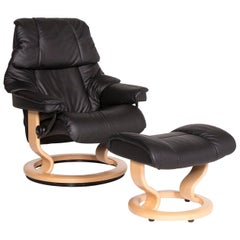 Stressless Leather Armchair Black Function Relax Function Size M