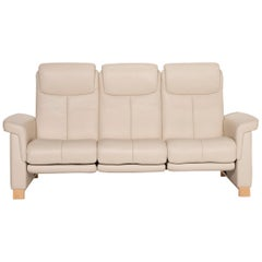 Stressless Leather Sofa Beige Three-Seater Electric Function Relaxation Function