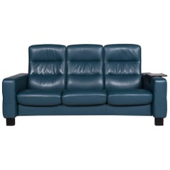 Stressless Leather Sofa Blue Petrol Three-Seat Function Couch