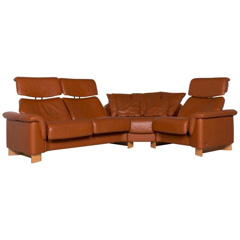 Stressless Leather Sofa Brown Corner Sofa