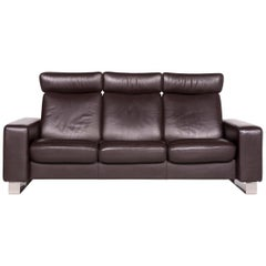 Stressless Leather Sofa Brown Three-Seat Couch