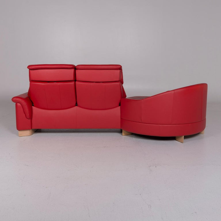 Stressless Leather Sofa Red Corner Sofa For Sale at 1stdibs
