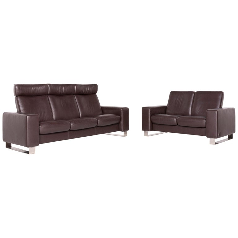Pleasing Stressless Leather Sofa Set Brown Three Seat Two Seat Pdpeps Interior Chair Design Pdpepsorg
