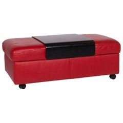 Stressless Leather Stool Red with Storage Function
