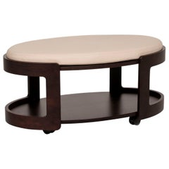 Stressless Leather Wood Coffee Table Dark Brown Cream Table Stool