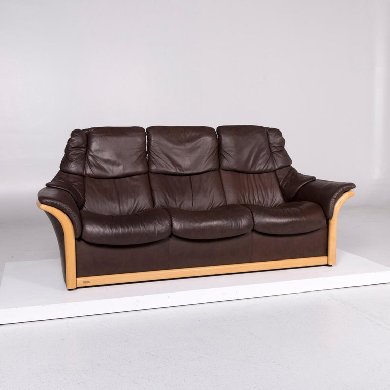 Stressless Leather Wood Sofa Brown Dark Brown Three-Seat Couch