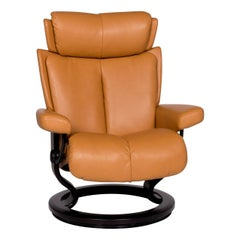 Stressless Legend Leather Armchair Mustard Yellow Amber Relax Function Size M