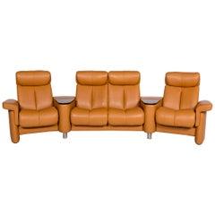 Stressless Legend Leather Corner Sofa Mustard Yellow Ocher Sofa Four-Seater