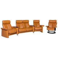 Stressless Legend Leather Corner Sofa Set Mustard Yellow Yellow Ocher 1x Corner
