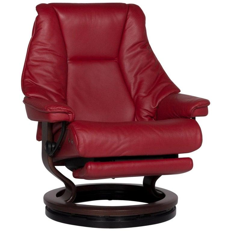 Stressless Live Designer Leder Sessel Rot Inkl Funktion For Sale at 1stdibs