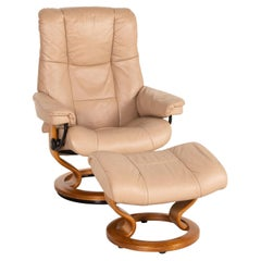 Stressless Mayfair Leather Armchair Incl. Stool Beige Relaxation Function