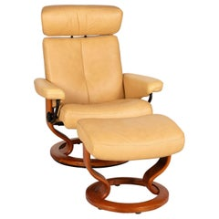 Stressless Orion Leather Armchair Beige Incl. Stool Function Relaxation Function