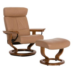 Stressless Orion Leather Armchair Incl. Stool Brown Relax Function