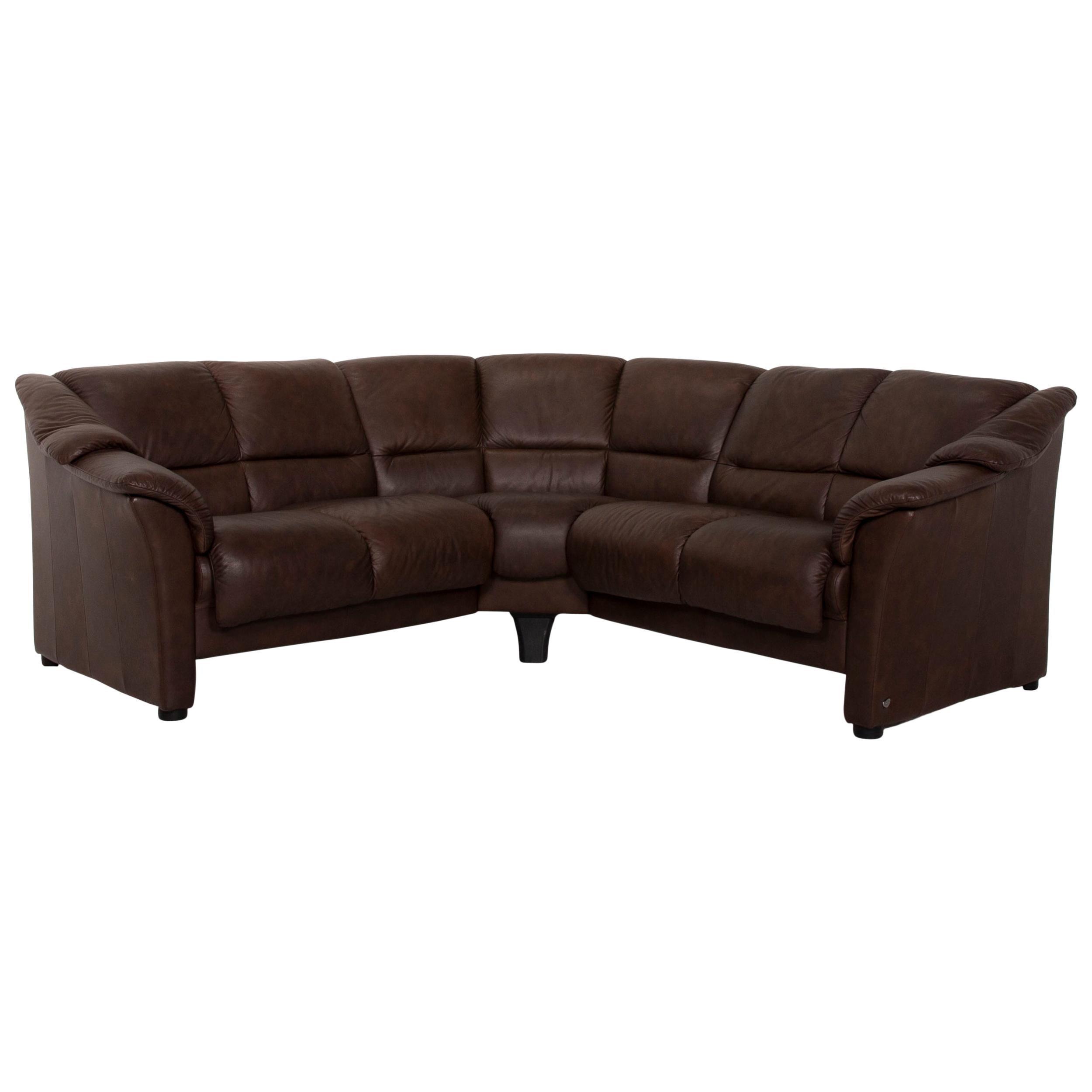 Stressless Oslo Leather Corner Sofa Brown Dark Brown Sofa Couch