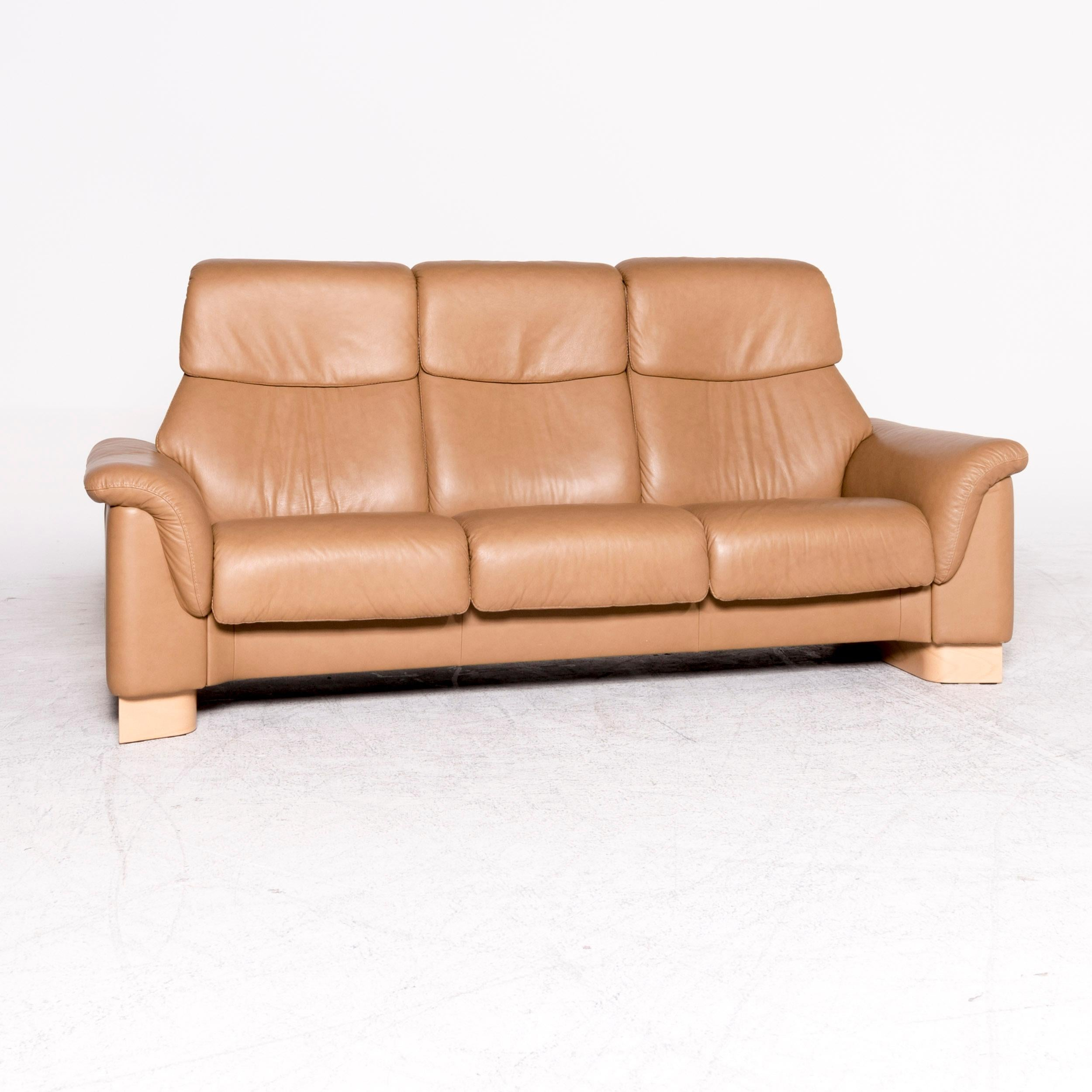 Stressless Paradise Designer Leather High Back Sofa Beige Genuine Leather