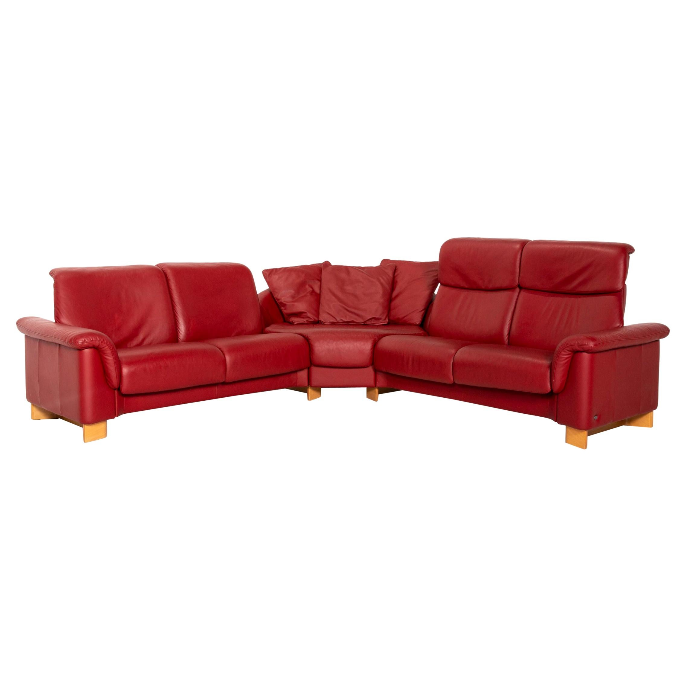 Stressless Paradise Leather Corner Sofa Red Sofa Function Couch
