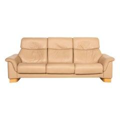 Stressless Paradise Leather Sofa Beige Three Seater