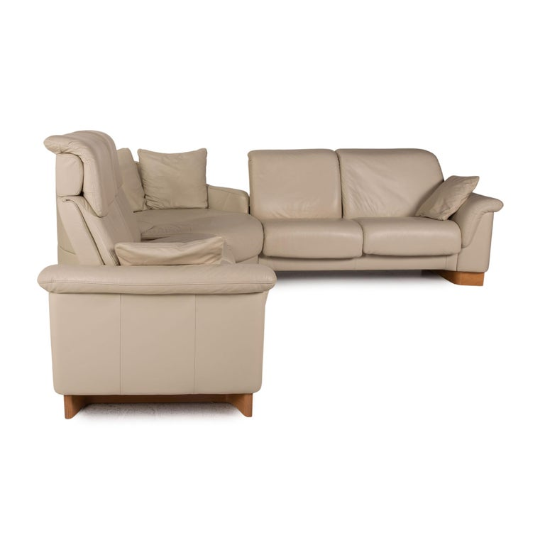 Stressless Paradise Leather Sofa Cream Corner Sofa Couch For Sale 4