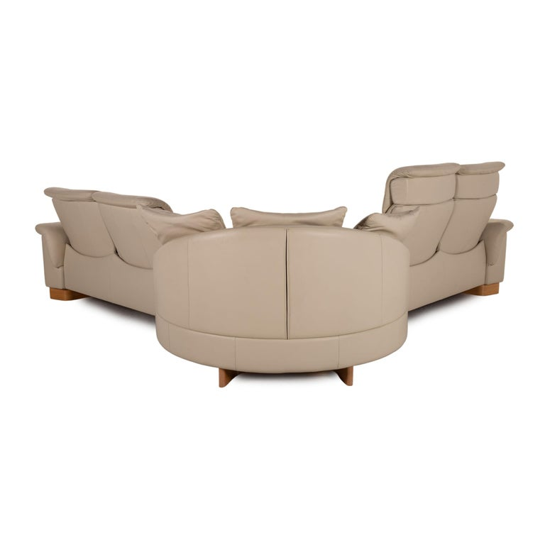 Stressless Paradise Leather Sofa Cream Corner Sofa Couch For Sale 5