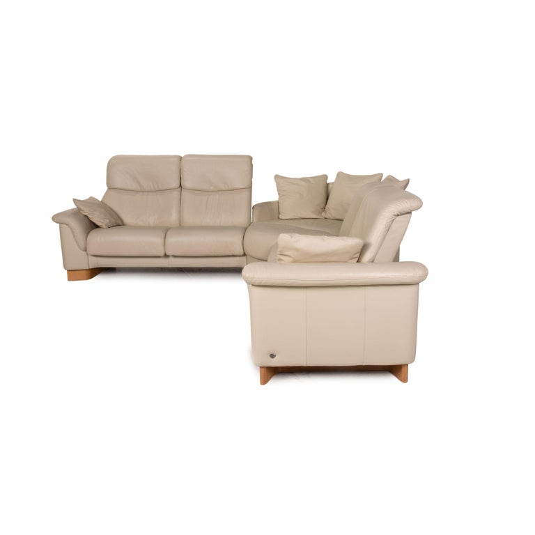 Stressless Paradise Leather Sofa Cream Corner Sofa Couch For Sale 6