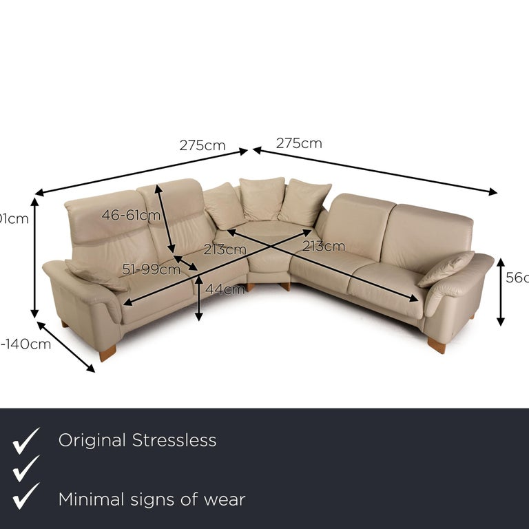 We present to you a Stressless Paradise Leather Sofa Cream Corner Sofa Couch.  SKU: #16922-c3     Product measurements in centimeters:     depth: 79  width: 275  height: 85  seat height: 44  rest height: 56  seat depth: 51  seat width: