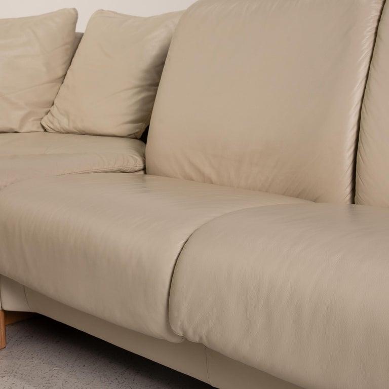 Norwegian Stressless Paradise Leather Sofa Cream Corner Sofa Couch For Sale