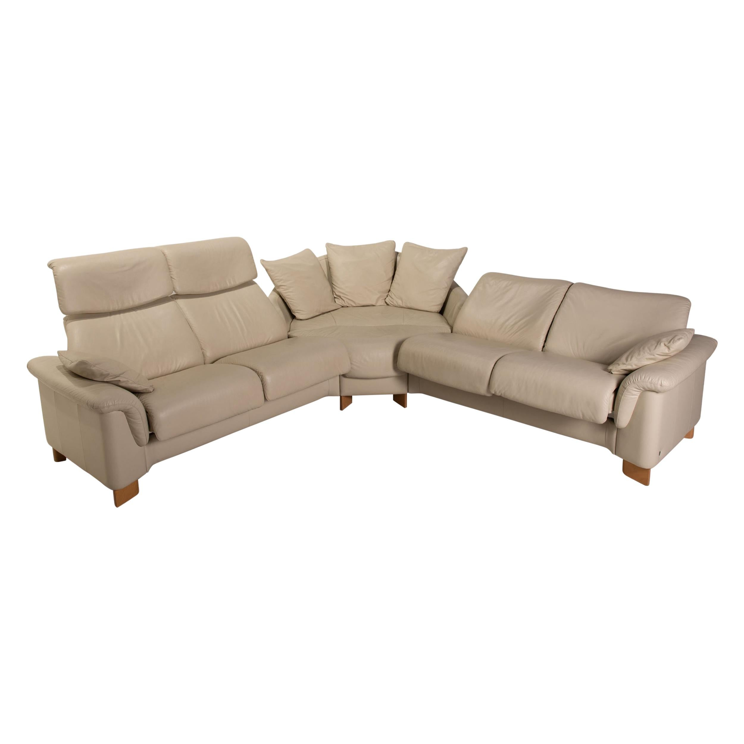 Stressless Paradise Leather Sofa Cream Corner Sofa Couch