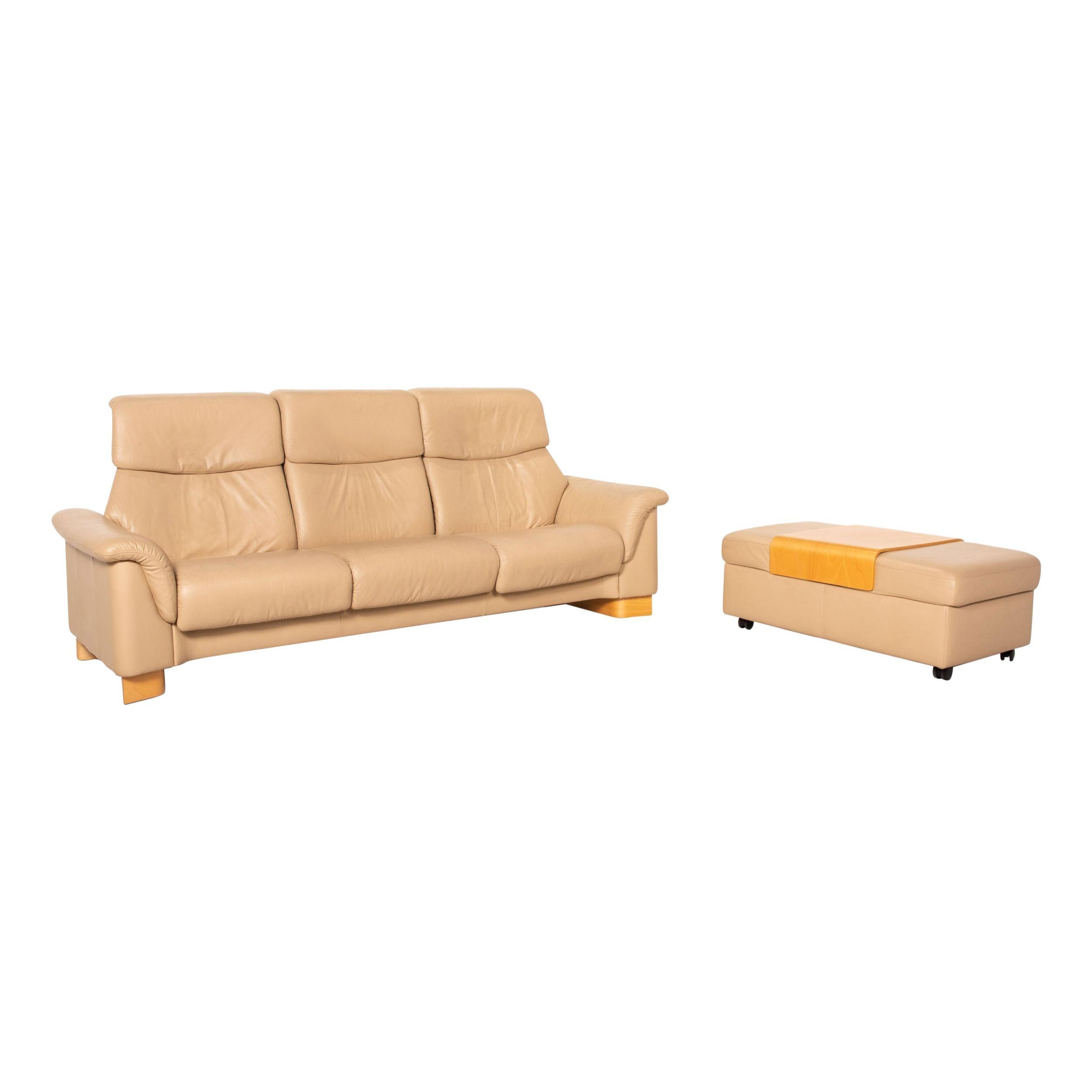 Stressless Paradise Leather Sofa Set Beige 1x Three-Seater 1x Stool