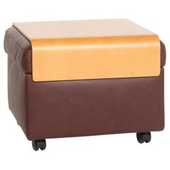 Stressless Paradise Leather Stool Dark Brown Including Storage Space