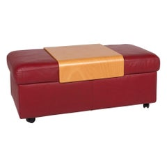 Stressless Paradise Leather Stool Red Wine Red Ottoman Including Wooden Top